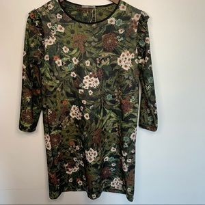 Zara Collection Floral Long Sleeve Shift Dress S